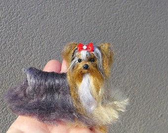 Custom Pet Portrait  Miniature of your Pet   Needle Felted Yorkie Lilo and Beauty  Handmade Poseable Art Sculpture Personalized Gift