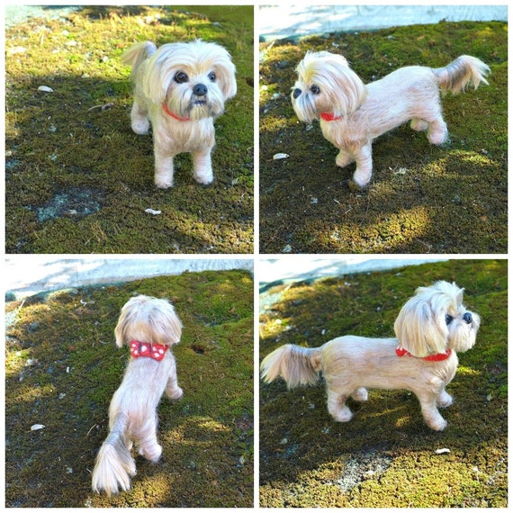 Custom Pet Portrait  Felted Miniature Sculpture of your pet Cute Personalized Art for Pet Lovers  example Shih Tzu  Gift Cute