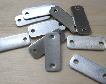 """Small aluminum rectangle stamping blank dog tags double hole 1/2"""" X 1-5/16""""  QTY 50"""