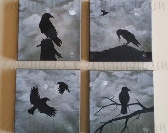"Four (4) Original Fine Art Painting Set - Acrylic on Canvas - Four 6"" x 6"" - Black Crows"
