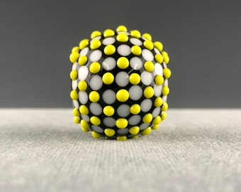 Bumpy Black White & Yellow Nexus Focal Lampwork Glass Bead by Shani Barrett SRA