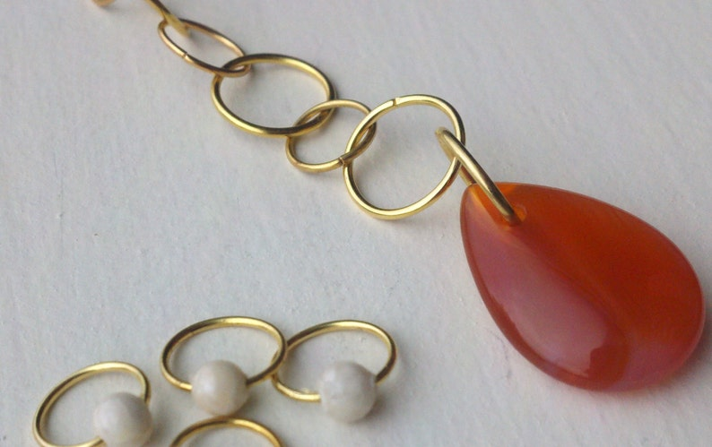 Carnelian and riverstone row counter & stitch marker set image 0