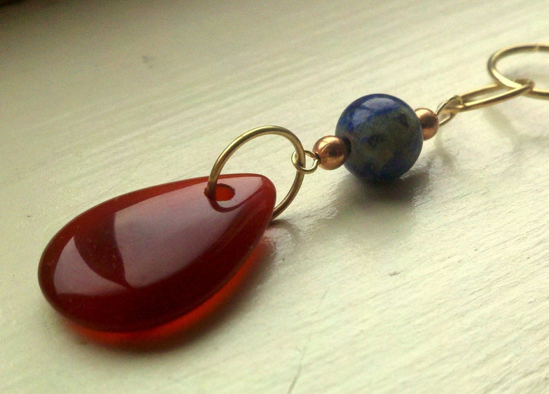 Stitch marker & row counter set in carnelian and lapis lazuli image 0