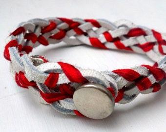 Candy Cane leather bracelet
