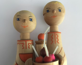 Vintage Hand Painted Wood Boy and Girl Selling Apples Figurine