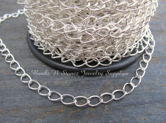 418C09 3 Feet Bright Silver Plated Brass Chains-Box 2mm