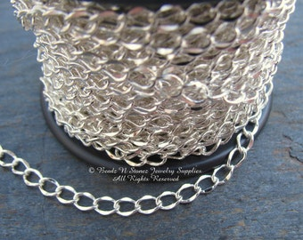 Silver Plated 3.5x5mm Hammered Curb Link Chain - SPOOL
