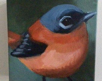 Small Bird Painting- Black and Orange Flycatcher