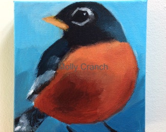 Original Painting on Canvas of American Robin