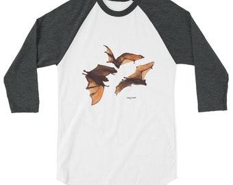 Halloween Bats- 3/4 sleeve raglan shirt