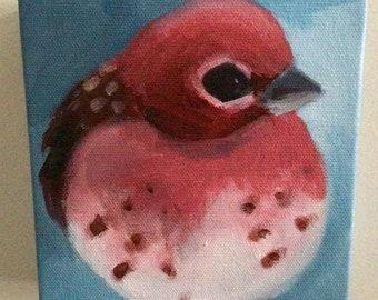 Acrylic Painting on Canvas- Bird- Purple Finch