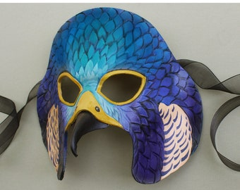 Twilight Falcon Leather Mask - Teal Blue and Purple Raptor Costume Bird Mask with Beak
