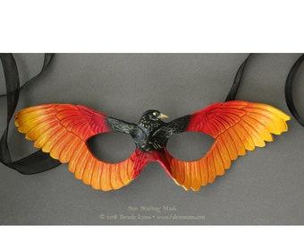 Sun Starling Leather Mask - Fantasy Phoenix Firebird Bird Wing Costume Mask