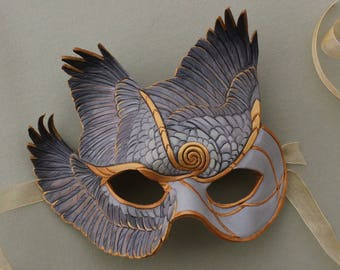 Gold Spiralwings Leather Mask - Fantasy Gray  Bird Wing Costume Mask