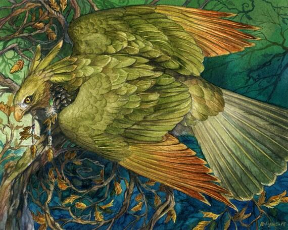 Mossgold - Fantasy Green Hawk Forest Print