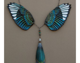 Magpie Wings and Tail - Leather Bird wing and Tail Feathers Necklace