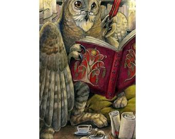 Scribe - Fantasy Owl Gryphon Librarian Print