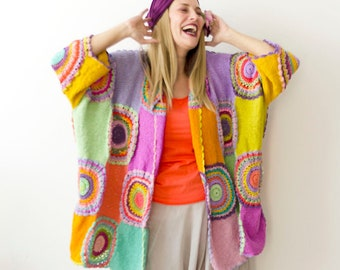 Pay for your cardigan in installments, Pastel Colors Plus Size Clothing, Oversize Cardigan, Spring Summer Rainbow sweater