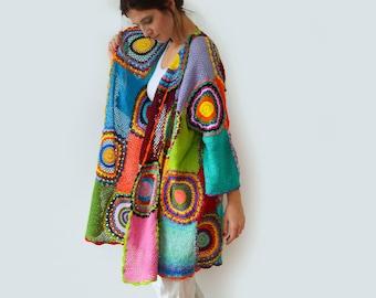 Plus Size Clothing, Oversize Cardigan, Spring Summer Rainbow sweater