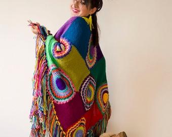 Plus Size Clothing, Poncho, Women Cape, Boho Multicolored - READY TO SHIP