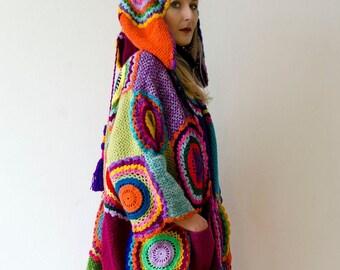 Plus Size Clothing, Long Hooded Cardigan, Wearable Art, Boho Coat, Oversized Sweater, Swing Coat, Plus Size Kaftan