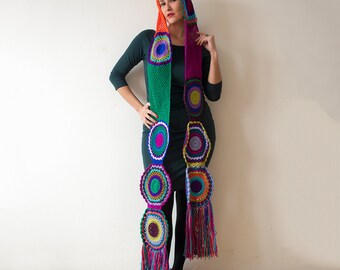 Multicolor Crocheted Circle Scarf- READY TO SHIP