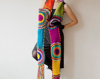 Multicolor Crocheted Circle Scarf - MADE TO ORDER