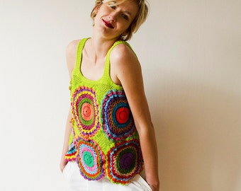 Sixties Hippie Crocheted Retro Multicolor Top - MADE TO ORDER