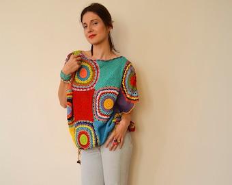 Plus Size Clothing Women's Sweater Vest - Crochet ,Light Silky Yarn