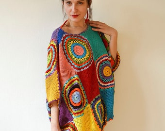 Plus size clothing Plus Size Sweater Vest MADE TO ORDER - Oversized Red Yellow Blue Pink Crochet Women's Cardigan