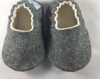 Black Linen Shoes, Baby Slippers, Baby shoes, baby boy shoes, toddler shoes, soft sole baby shoes, baby crib shoes, baby shower gift