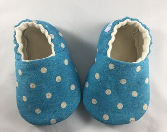 Blue canvas baby shoes, baby boy shoes, baby shoes, baby slippers, baby boy slippers, crib shoes, toddler shoes, cotton linen, soft sole sh