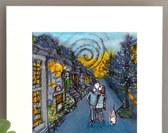 Brooklyn street illustration print for girlfriend, boyfriend,  Millennial couple walking dog, whimsical artwork FREE Shipping