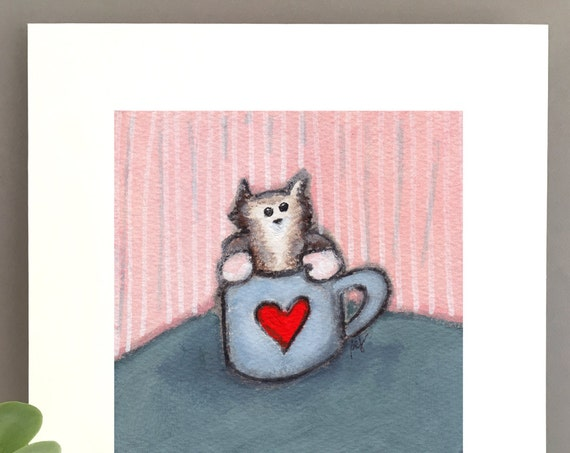 Kitten in a coffee cup print, art , cat lover gift idea, unique cat artwork, art for my house, 1st anniversary art, charming tabby kitten