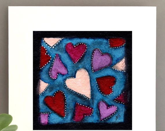 Hearts wall art, 1st anniversary art, charming artwork, art for my house, fun anniversary gift FREE Shipping