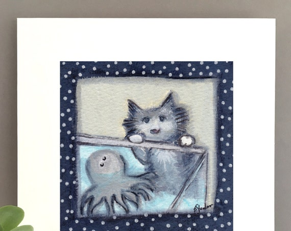 Cat with cute octopus art, gray tabby cat, illustration, whimsical art,  FREE Shipping