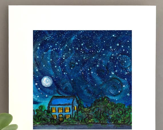 Van Gogh Night, starry night art, blue night sky constellation night wall art, charming artwork , art for my house FREE Shipping