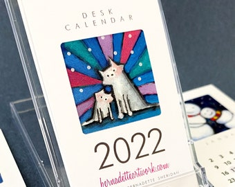 Set of 20 - 2022 mini desk calendars with stands, 2022 desk calendar, cat lover calendar 2022 mini calendar, gift for coworkers, WFH gift