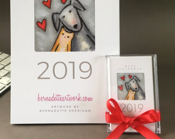 Secret SALE! Set of two 2019 calendars - wall calendar and desk calendar with whimsical art, 2019 mini calendar easy office gift one to keep