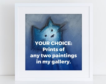 Choose Prints of any 2 paintings from Bernadette Artwork, hundreds to choose from! Unframed print or framed print, made to order premium art