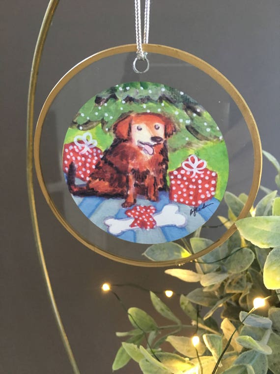 Red Retriever Irish Setter glass Christmas ornament, gift for dog lovers, unique ornament handmade ornament glass ornament with illustration
