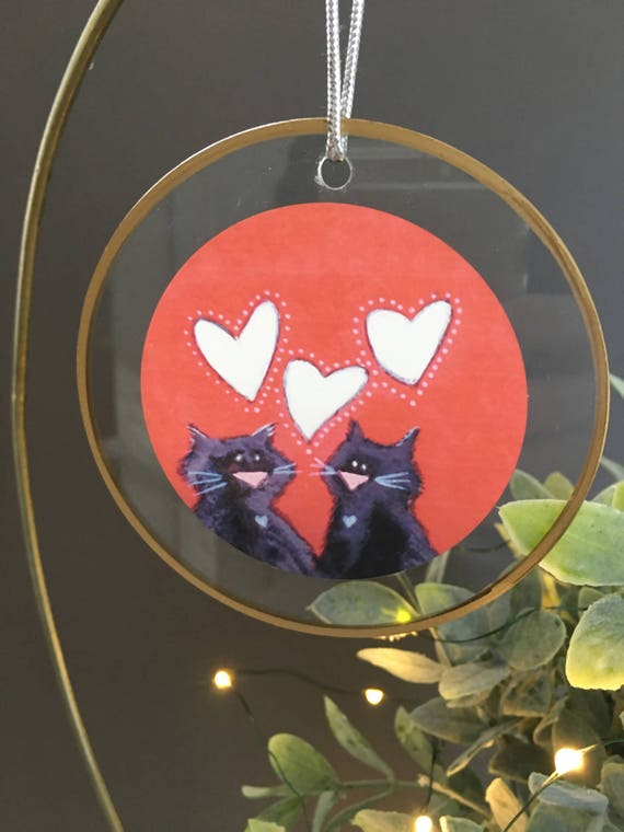 Two black cats ornament, gift for cat lovers, red and white, unique ornament for christmas tree, glass ornament by Bernadette Artwork