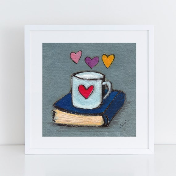 Art print for girlfriend, Book lover,  book lover gift idea, unique art for wife, 1st anniversary art   FREE Shipping