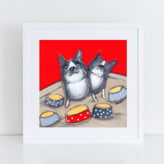 Boston Terrier Art, two boston terriers, wall art,  charming artwork, art for my house, kitchen, fun anniversary gift FREE Shipping