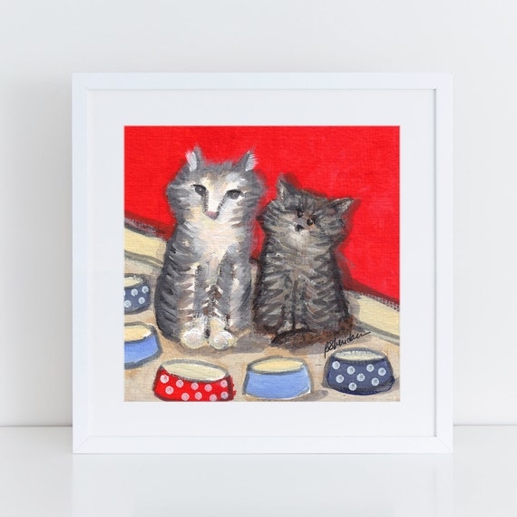 Tabby cat folk art print, two tabby cats, whimsical art, art for kitchen, tiger cats mini painting  FREE Shipping