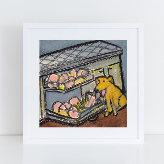Dog licking the dishes painting, funny yellow lab art, golden retriever art, art for dog lovers, dog licking the dishwasher, art for kitchen