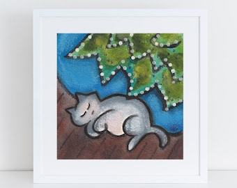 Christmas cat painting, dreamy cat illustration, van gogh cat inspired, gray cat under the tree print, whimsical cat art  FREE Shipping