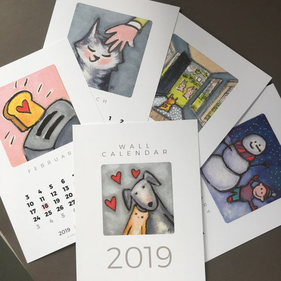 New! Set of two 2019 calendars - wall calendar and desk calendar with whimsical art, 2019 mini calendar, easy office gift, one to keep