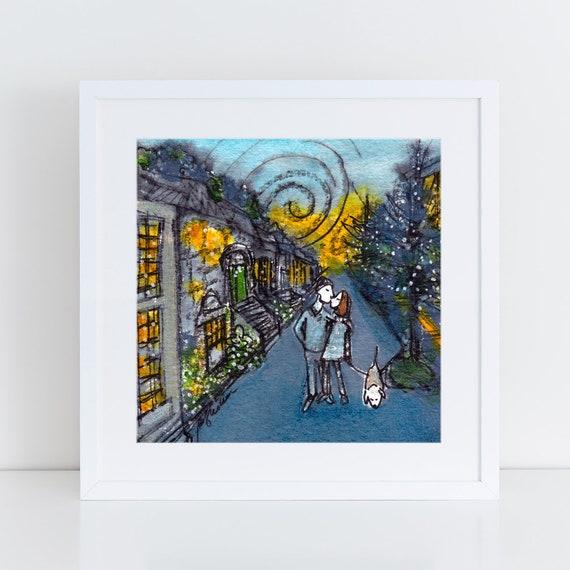 Brooklyn street illustration print for girlfriend, boyfriend,  Millennial couple walking dog, whimsical artwork FREE Shipping
