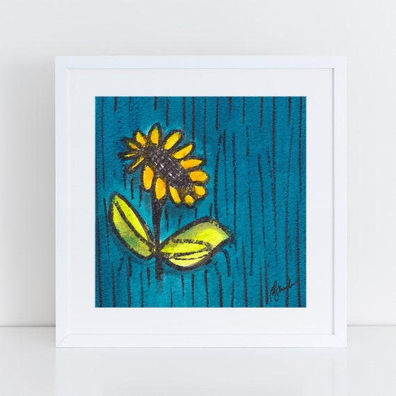 Van Gogh inspired Sunflower painting, bright colors, teal green yellow, whimsical artwork  , art for my house FREE Shipping